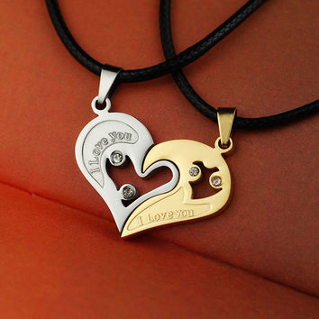 2 Pieces Set Couple Broken Heart choker Necklaces I Love U Stainless Pendants Double Heart Lovers Crystal Necklaces for Men