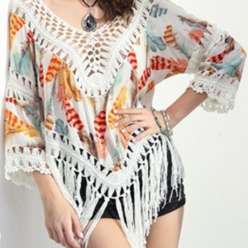 Streetstyle  Casual V-Neck Fringe See-Through Crochet Feather Printed Tunic