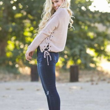 Willa Blush Lace Up Sweater