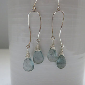 Moss Aquamarine Chandelier and Long Dangle Sterling Silver Earrings