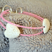 White Lava Heart Stone Bracelet Paired With Pink Glass  Beads