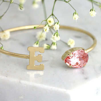 Bridal Bracelet, Bridal Cuff Bracelet, Bridesmaid Gifts, Personalized Gift, Blush Bracelet, Gift For Her, Bridal Blush Crystal Bracelet