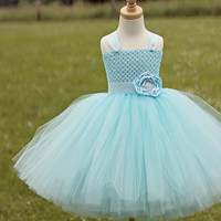 Ligth Blue Flower Girl Tutu Dress , Light Blue Girls Tutu Dress, First Birthday Tutu Dress, Blue Pageant Dress,