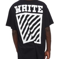 OFF-WHIITE Tide brand men's hand-painted square stripe printed cotton round neck T-shirt Black