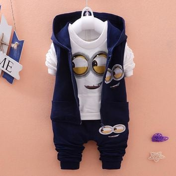Newest 2016 Autumn Baby Girls Boys Minion Suits Infant/Newborn Clothes Sets Kids Vest+T Shirt+Pants 3 Pcs Sets Children Suits