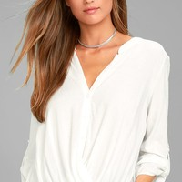 Making a Difference White Button-Up Top