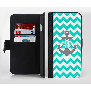The Teal Green and Gray Monogram Anchor on Teal Chevron Ink-Fuzed Leather Folding Wallet Credit-Card Case for the Apple iPhone 6/6s, 6/6s Plus, 5/5s and 5c