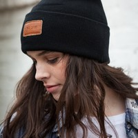 BAD LUCK LEATHER STAMP BEANIE