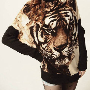 Apricot Long Batwing Sleeve Tiger Pattern Sweater
