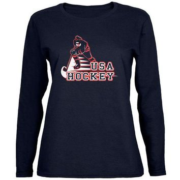 ONETOW Fast Hockey Player Country USA Womens Long Sleeve T Shirt