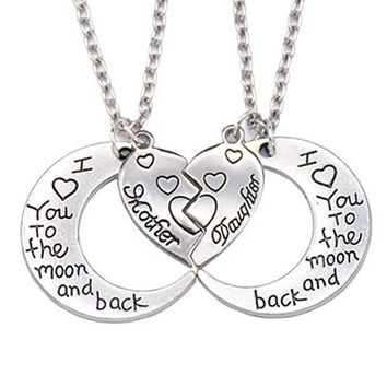 Broken Heart 2 Parts Pendant Necklace Heart Mother Daughter Necklace I Love You To The Moon Back