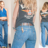 70s Levi's High Waisted Bell Bottoms - Orange Tab Classic Levi Strauss Flared Jeans | Womens 1970s 60s Denim Flare Pants - Boho Hippie Bells