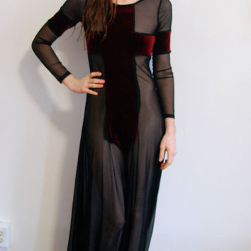 $120.00 Red Velvet Cross Sheer Black Maxi Dress ALL SIZES by coyotepeyote