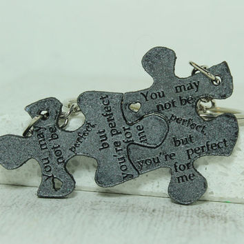 Puzzle Key chains for Couples Set of 2 key chains Perfect for me quote
