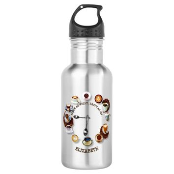 Cups Of Black Coffee With Beans As A Clock Stainless Steel Water Bottle