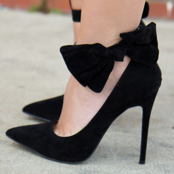 Black Bow Affair Heels
