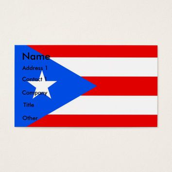 Business Card with Flag of Puerto Rico U.S.A.