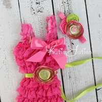 Hot Pink & Lime Romper and Headband- Cake Smash, Birthday, Newborn, Infant, Toddler, Photo prop, 1st birthday, pearl rhinestones