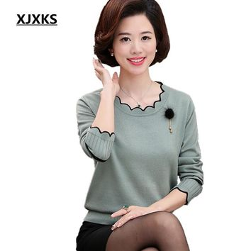 XJXKS Spring And Autumn Long-sleeved Sweater Solid Color Lotus Leaf Collar Plus Size Loose Plus Size Cashmere Women Sweater