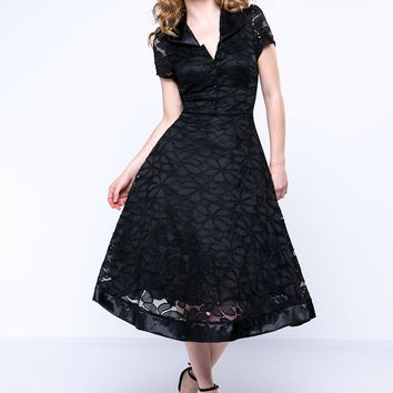 Casual V-Neck Plain Lace Skater Dress