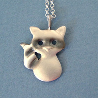 Raccoon Pendant in oxidized sterling silver