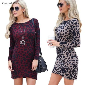 2019 autumn Sexy Woman Leopard Dresses Mujer Clothing long sleeve Slim Fit Ladies Party Club Dress Mini Bodycon dress