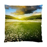 "Daisies In Field With Clouds Throw Pillow Cover Case 17"" 1-Sided"