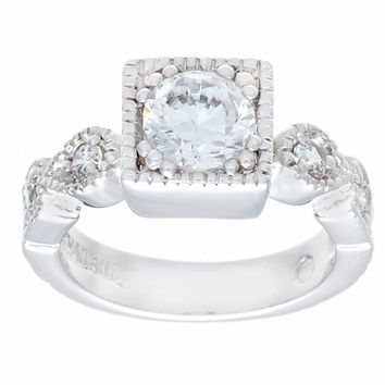Designer Look Engagement Style Silvertone Fashion Ring in Clear Cubic Zirconia