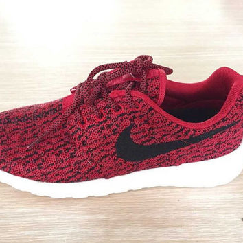 custom nike roshe yeezy boost 350 run sneakers athletic running mens red/white color shoes