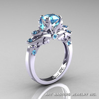 Classic 14K White Gold 1.0 Ct Blue Topaz Solitaire Engagement Ring R482-14KWGBT