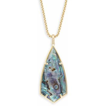 Kendra Scott: Carole Gold Long Pendant Necklace In Abalone Shell