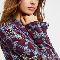 Free People Downtown Romance Embellished Buttondown