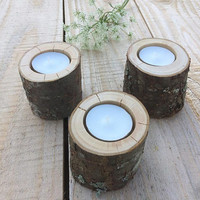 10 Rustic Candle Holders, Tea Light Holder, Woodland Wedding Centerpiece, Rustic Wedding Decor, Home Decor, Country Wedding, Christmas Decor