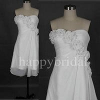 Short One Shoulder White Bridesmaid Dresses Handmade Flower Prom Dresses Party Dresses 2014 Formal Partty Dresses