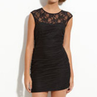En Crème Lace Illusion Dress (Juniors) | Nordstrom