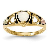 10k Tri-color Black Hills Gold Created Opal Heart Ring 10BH636