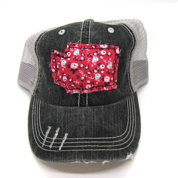Black and Gray Distressed Trucker Hat - Red Floral Applique - Washington - All United States Available