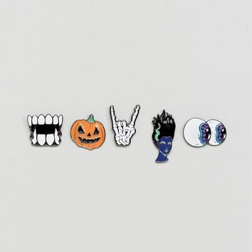 ASOS Halloween Novelty Pin Badge 5 Pack at asos.com