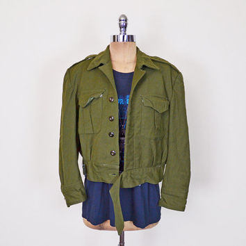 US Army Jacket Army Green Jacket US Military Jacket Vietnam Wool Jacket Crop Jacket 70s Jacket 90s Jacket 90s Grunge Jacket M Medium L Large