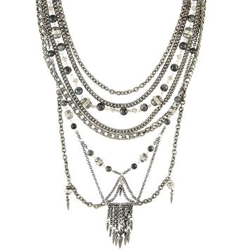 The Black Pearl Statement Necklace In Silver