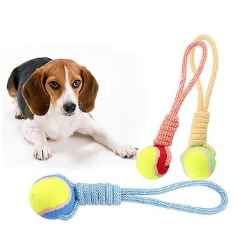 Dog Tennis Ball Cotton Rope Chew Bite Play Toy Teeth Cleaning Molar Pet Supplies
