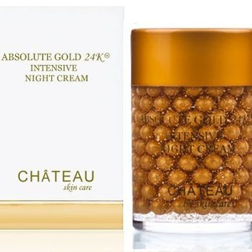 ABSOLUTE GOLD 24K INTENSIVE NIGHT CREAM - 24 Karat Gold, Silk Peptides and Hyaluronic Acid. It Provides Firming, Smoothing, Moisturizing And Anti Aging Effects. Excellent For All Skin Types. 2 Fl.oz-60ml. (FRAGRANCE FREE, CRUELTY FREE, PARABEN FREE, PETROL