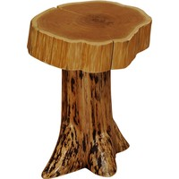 Traditional Cedar Stump End Table with Slab Top