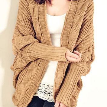 Khaki Plain Cable Knitted Dolman Sleeve Cape Vintage Casual Fashion Cardigan Sweater