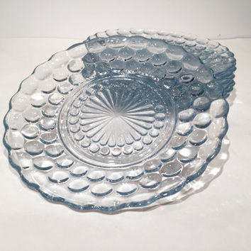 Blue Depression Glass Bread Plates, Anchor Hocking Bubble Glass Set of 6