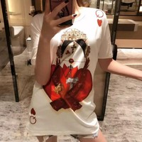 """D&G Fashionable Personality """"Queen Of Hearts In Poker"""" Print T-Shirt Top Blouse"""