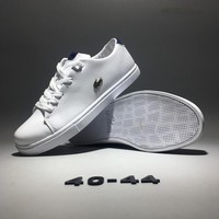 """Lacoste"" Men Simple Casual Fashion All-match Low Help Cowhide Plate Shoes Small White Shoes Sneakers"