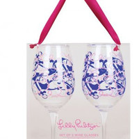 Lilly Pulitzer Wine Glass Set- Booze Cruise