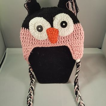 CROCHET HAT - PINK / BROWN OWL