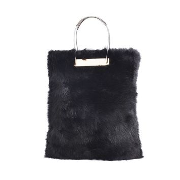 Faux Fur Luxury Handle Tote Bag
